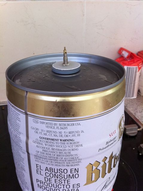 Finished presta valve in Keg