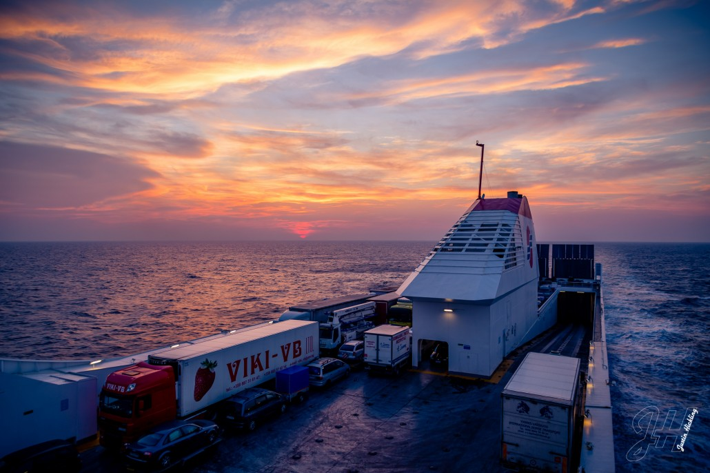 Sunset, Bari to Patras Ferry